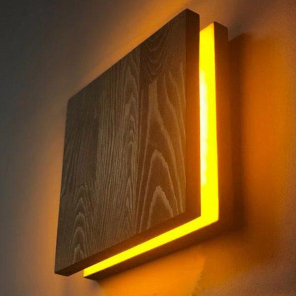 Бра настенное деревянное квадратное WP SC DUOS 21